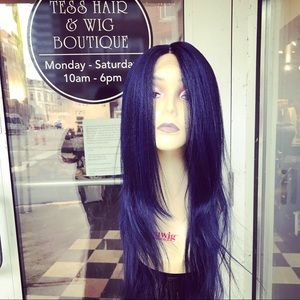 Accessories - Long blue wig Swisslace Lacefront Layers 2019 Sale
